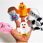 Old MacDonald - set of 6 wool felt finger puppets, Perth