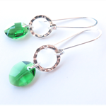 Marielle emerald green and Sterling Silver earrings by Sasha and Max
