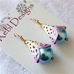 Hand Coloured Drop earrings in Light Blue and Purple