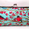 Bird song on blue large clutch purse