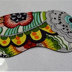 Eye Mask / Sleeping Mask red green yellow and black tattoo like fabric