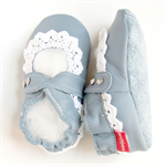 Leather 6-12m blue grey with cotton lace
