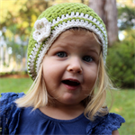 Girls slouchie / beret / beanie - pure wool crochet - green & cream