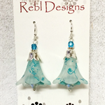 Turquoise and white Flower Earrings