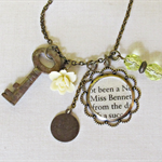 Elizabeth Bennet Charm Necklace Yellow Beaded Jane Austen Skeleton Key Vintage