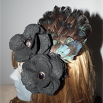 Winter Dew SALE black felt  flowers teal blue exotic feathers fascinator