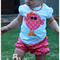 Retro Chick, appliqued t-shirt and bloomer set