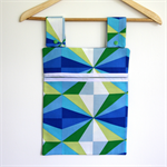 Laundry Fun Peg Bag - Blue, Green & White Triangle Burst