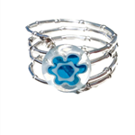 Silver wire wrap ring with blue glass flower