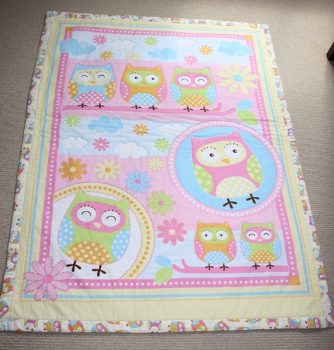 Little yellow owls baby or toddler cot quilt pram for Floor quilt for babies