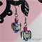 Glass beaded floral pink and blue earrings surgical steel