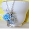 Mr Darcy Charm Necklace Elizabeth Bennet Pale Blue Vintage Key Silver Boho