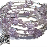 Amethyst beads and silver wrap around bracelet
