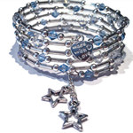 Sky blue crystals with silver wrap around bracelet