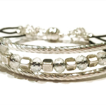 Crystal and silver on leather bracelet