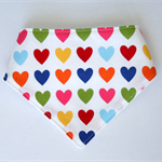 Rainbow Hearts Bandana Dribble Bib Bamboo Backed