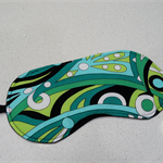 Eye Mask / Sleeping Mask green, aqua and black retro swirl