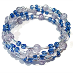 Hand made violet and blue glass beaded memory wire wrapped bracelet