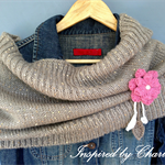 Ribbed sequin shrug/cowl with crocheted flower brooch