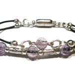 Pale amethyst glass beads and leather bracelet