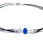Deep blue crystal on leather choker necklace