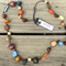Earthy Ceramic & Wood Long Knotted Necklace Adjustable Slip Knot