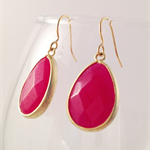Dusty Red Earrings - Gold framed glass crystal drop - Dangle Earrings