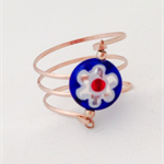 Rose gold wrap ring with blue glass flower