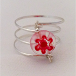 Sterling silver wrap ring with red glass flower