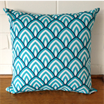 Outdoor Cushion Cover - Aqua and Navy Arches