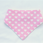 White Hearts on Pink Bandana Dribble Bib Bamboo Backed