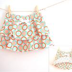 Size 3 / Circle stripe Skort - Orange x Mint