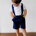 Boys Pants with Braces. Navy Blue Linen. Size 1 ready to post now