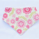 Pink Flowers Bandana Dribble Bib Bamboo Backed