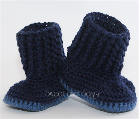 Crocheted Baby Snuggly Snuggs Booties. Size 0-3 months - 6-12 months