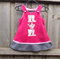 Polar fleece pink & grey pinafore with gum boots & watering can. Sizes 00 to 7