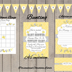 DIY Baby Shower invitations, bunting, bingo game, advice card, chocolates