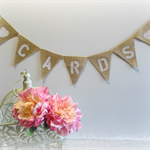 CARDS Mini Burlap Hessian Bunting- Wedding Vintage Photo Prop cww Birthday Party