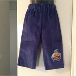 Cadet blue corduroy pants with a pirate ship appliqué. Available in sizes 0 to 7