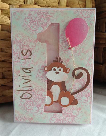 Handmade personalised st birthday card girl monkey