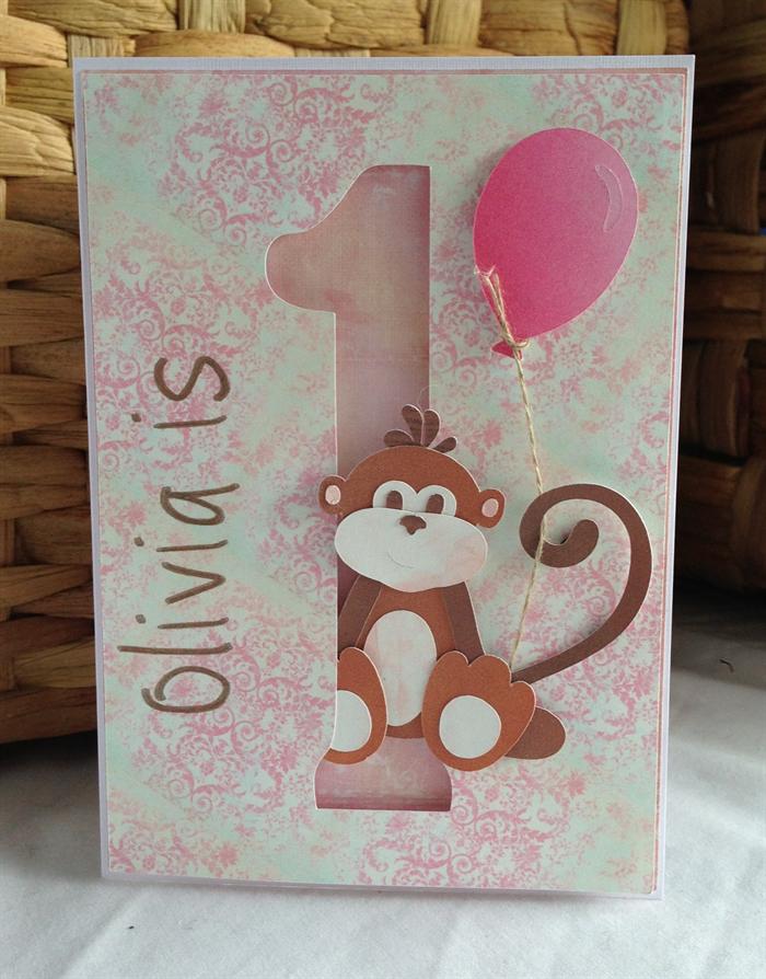 Handmade Personalised 1st birthday card girl monkey – Personalized 1st Birthday Cards