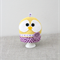 Easter chick egg cosy, warmer, cover, yellow, purple, hearts, cozy