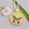vintage postage butterfly pendant