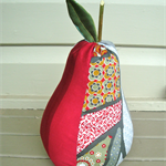 Red and grey pear doorstop