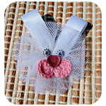 Tulle Bunny Hair Clip in White