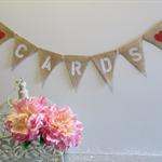CARDS Mini Burlap Hessian Bunting- Wedding Vintage Photo Prop cwr Birthday Party