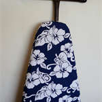 Ironing Board Cover - Hawaii hibiscus flower navy blue and white