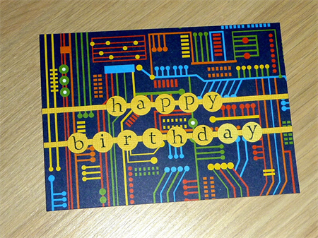 Male Happy Birthday card - computer technology