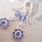 Purple/Lilac Swarovski crystal flowers, Sterling Silver, earring