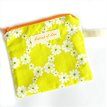 lime orange daisy coin purse / card holder / zip pouch  hippy floral bright neon